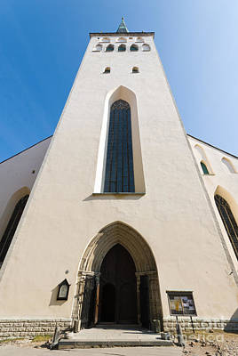 Photograph - Wide Angle View Of The Steeple Of St Olaf's Church Tallinn Estonia by David Hill