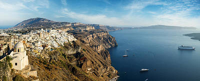 Photograph - Wide Panorama Of The Santorini Island  by Gurgen Bakhshetsyan