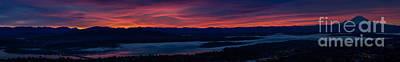 The Wheel Photograph - Wide Seattle Eastside Sunrise Pano by Mike Reid