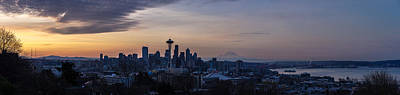 Skylines Royalty-Free and Rights-Managed Images - Wide Seattle Morning Skyline by Mike Reid