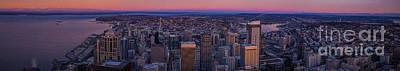 Wide Seattle Sunrise Cityscape Art Print by Mike Reid