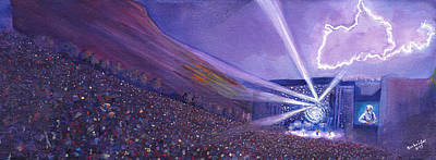 Guitar Painting - Widespread Panic Redrocks Lighting by David Sockrider