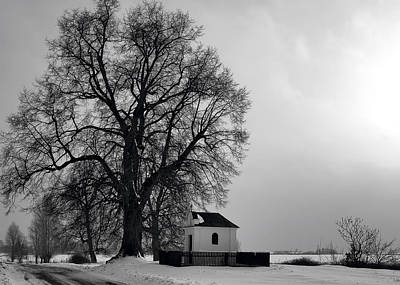 Black And White Photograph - The Old Shrine In Wielkie Oczy by Tomasz Dziubinski
