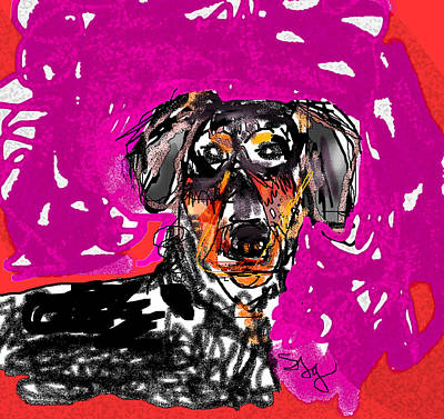Digital Art - Wiener Dog by Joyce Goldin