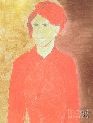 Painting - Golden Wife In Red Sweater 1 by Richard W Linford