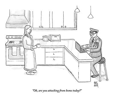 Military Drawing - Wife In Robe Speaks To Husband Who Is Dressed by Paul Noth
