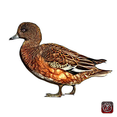 Art Print featuring the mixed media Wigeon Art - 7415 - Wb by James Ahn