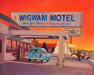Art Print featuring the painting Wigwam Motel by Art James West