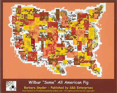 Digital Art - Wilbur Some All American Pig by Barbara Snyder