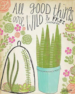 Succulents Painting - Wild & Free by Katie Doucette