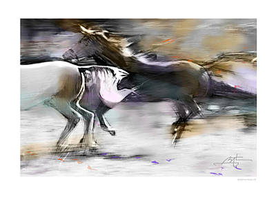 Running Digital Art - Wild And Free by Bob Salo