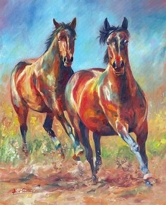 Wild Horse Painting - Wild And Free by David Stribbling