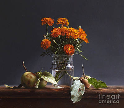 Realist Painting - Wild Apples And Marigolds by Larry Preston