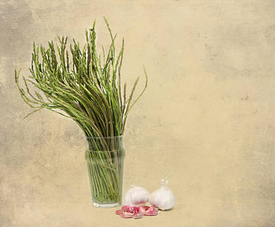 Wild Asparagus And Garlic Art Print by Angela Bruno