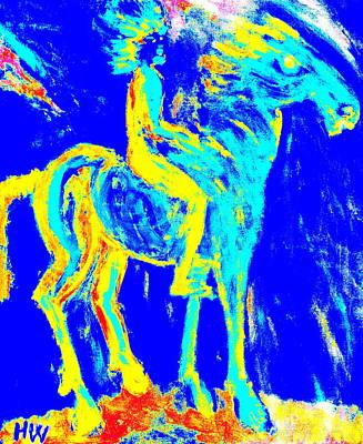 my Wild blue horse will blow away with me  Art Print