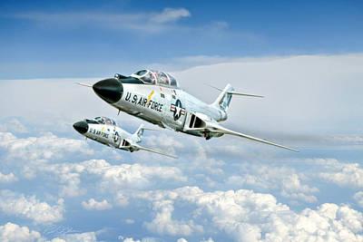 F-101 Digital Art - Wild Blue Voodoos by Peter Chilelli