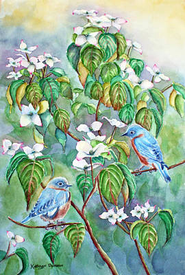 Grey Painting - Wild Blues In White Dogwood by Kathryn Duncan