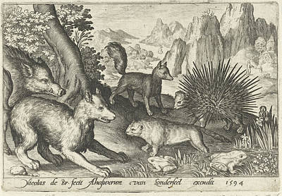 Beaver Drawing - Wild Boar, Fox, Beaver, Porcupine In Frogs by Nicolaes De Bruyn