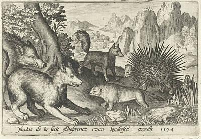 Beaver Drawing - Wild Boar, Fox, Beaver, Porcupine In Frogs by Nicolaes De Bruyn