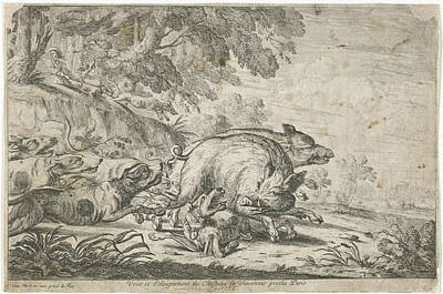Vincennes Drawing - Wild Boar Hunt, Gillis Peeters I, Frans Snijders by Gillis Peeters (i) And Frans Snijders And Jacques Van Merle