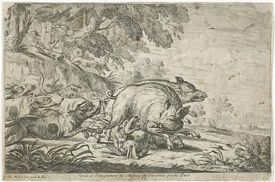 Wild Boar Hunt, Gillis Peeters I, Frans Snijders Art Print by Gillis Peeters (i) And Frans Snijders And Jacques Van Merle
