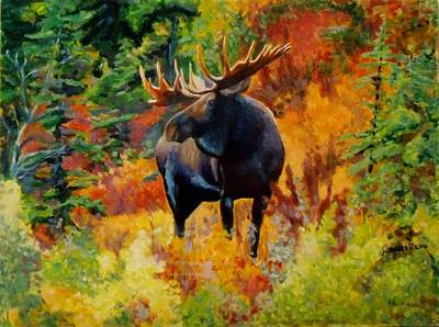 Painting - Wild Bull Moose by Nicolas Bouteneff
