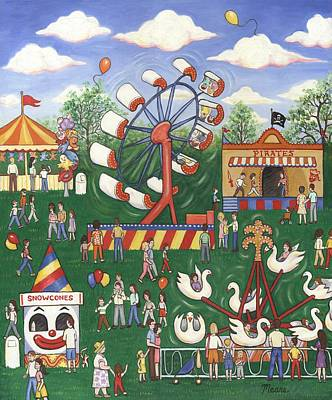 Folk Art Painting - Wild Carnival by Linda Mears