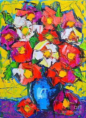 Bouquets Of Pink Flowers Green Blue Painting - Wild Colorful Flowers by Ana Maria Edulescu