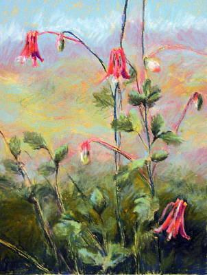 Pastel - Wild Columbines by Lenore Gaudet