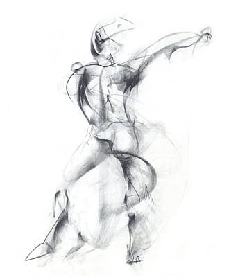 Abstract Movement Drawing - Wild Dancer by Christopher Williams