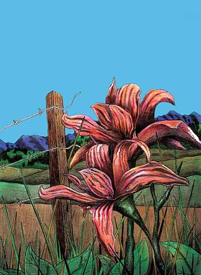 Barbed Wire Fences Mixed Media - Wild Day Lily by Brian Murphy