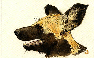 Study Painting - Wild Dog Lycaon by Juan  Bosco