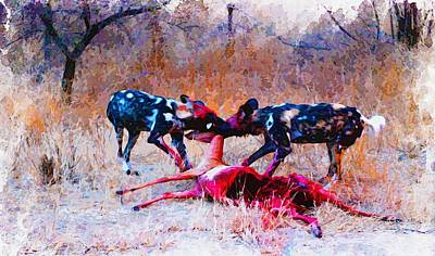 Wild Dogs Dinner Original by Don Kuing