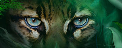 Mixed Media - Wild Eyes - Ocelot by Carol Cavalaris