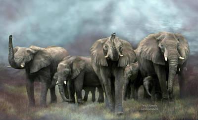 Wild Family Art Print by Carol Cavalaris