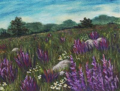 Landscape Painting - Wild Flower Field by Anastasiya Malakhova