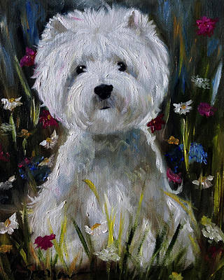 Dog Rescue Painting - Wild Flowers by Mary Sparrow