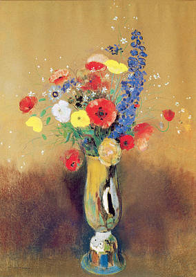 Wild Flowers In A Long-necked Vase Art Print by Odilon Redon