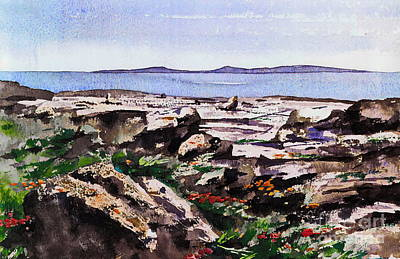 Burren Painting - Wild Flowers In The Burren  Clare by Val Byrne