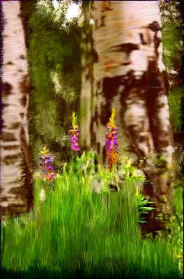 Flower Painting - Wild Flowers In The Forest by Bruce Nutting