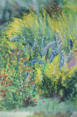 Delphinium Photograph - Wild Flowers Pastel On Paper by Sophia Elliot