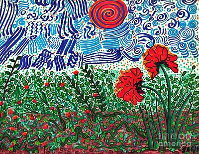Wild Flowers Drawing - Wild Flowers Under Wild Sky by Sarah Loft