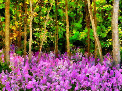 Abstract Realism Digital Art - Wild Forest Violets by Georgiana Romanovna