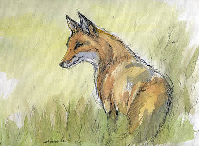Wild Fox Watercolor Painting Print by Angel  Tarantella