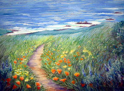 California Poppies Painting - Wild Garden By The Sea by Karin  Leonard