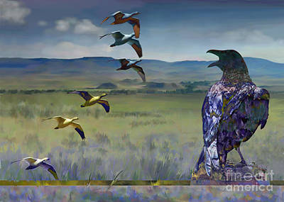 Digital Art - Wild Geese by Ursula Freer