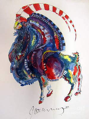 Etnic Art Painting - Wild Goat - Petroglyph  by Alptekin GORUNUS