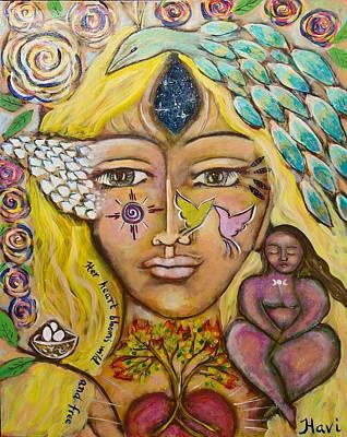 Sacred Feminine Painting - Wild Goddess by Havi Mandell