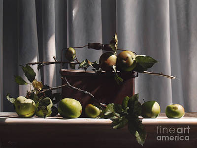 Ampersand Painting - Wild Green Apples by Larry Preston