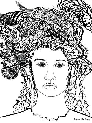 Art Print featuring the drawing Wild Hair Portrait In Shapes And Lines by Lenora  De Lude